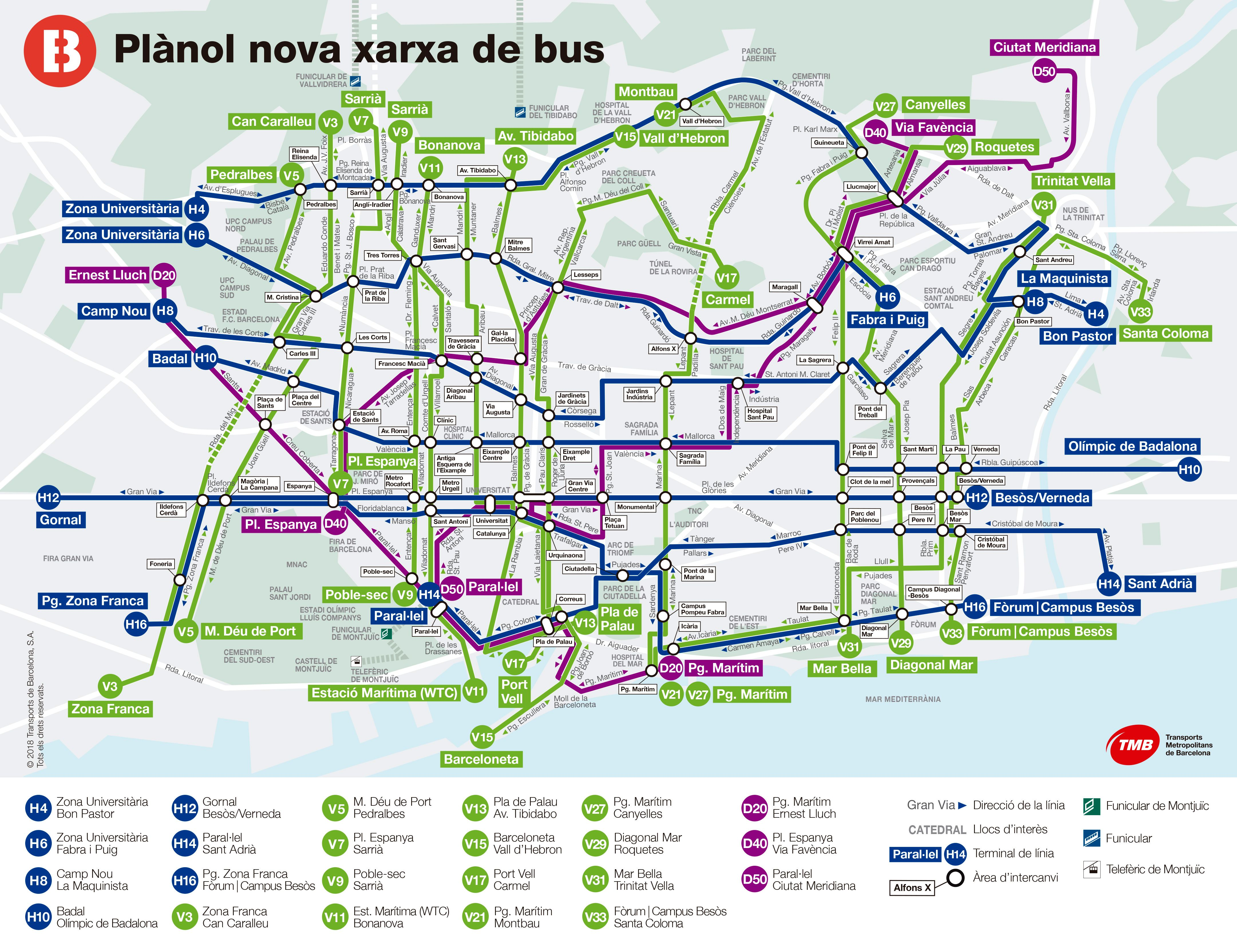 Following is an updated map of the Barcelona bus network, featuring the  main lines. Click on the image to enlarge. 1dcc160605